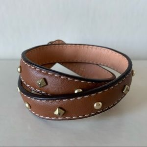 Coach Leather Gold Studded Wrap Bracelet